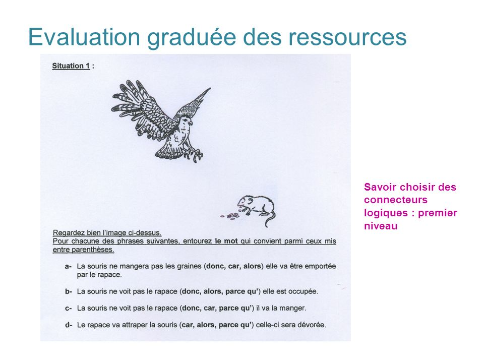 Evaluation graduée des ressources