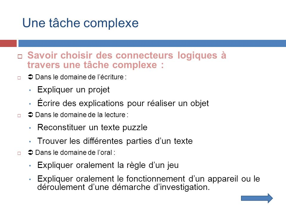 Une tâche complexe Savoir choisir des connecteurs logiques à travers une tâche complexe :  Dans le domaine de l'écriture :