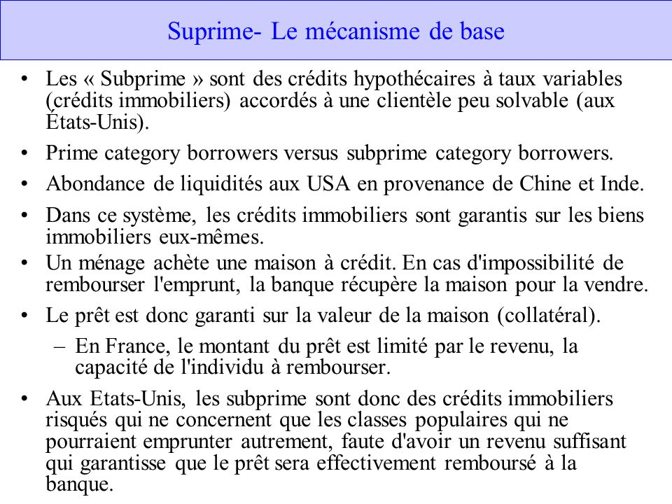 Suprime- Le mécanisme de base