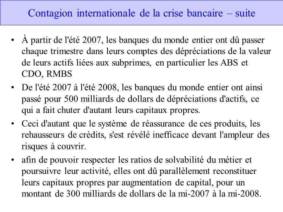 Contagion internationale de la crise bancaire – suite