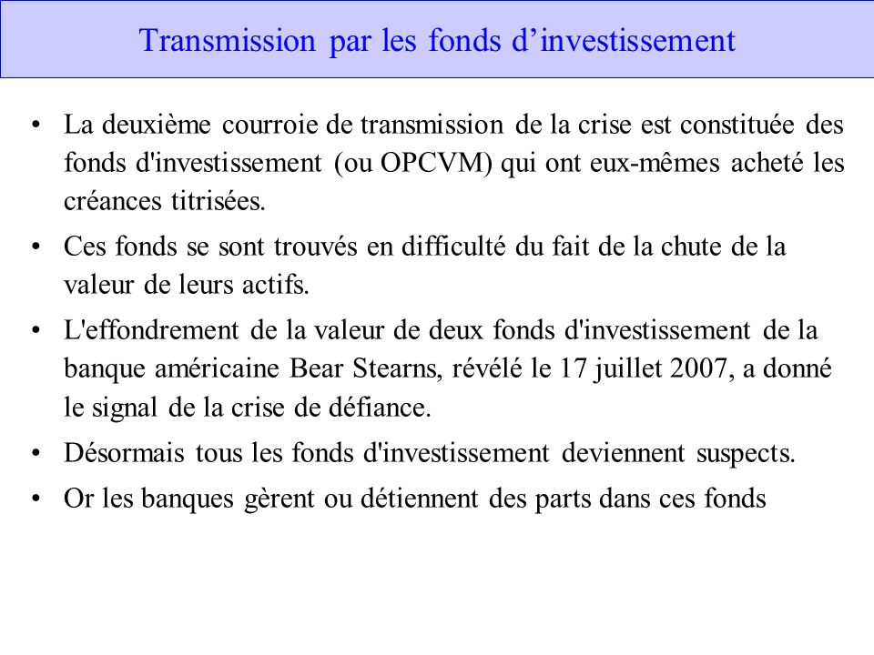 Transmission par les fonds d'investissement