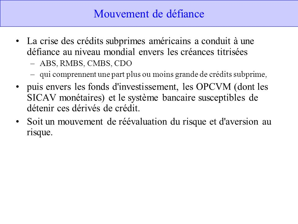 Mouvement de défiance La crise des crédits subprimes américains a conduit à une défiance au niveau mondial envers les créances titrisées.
