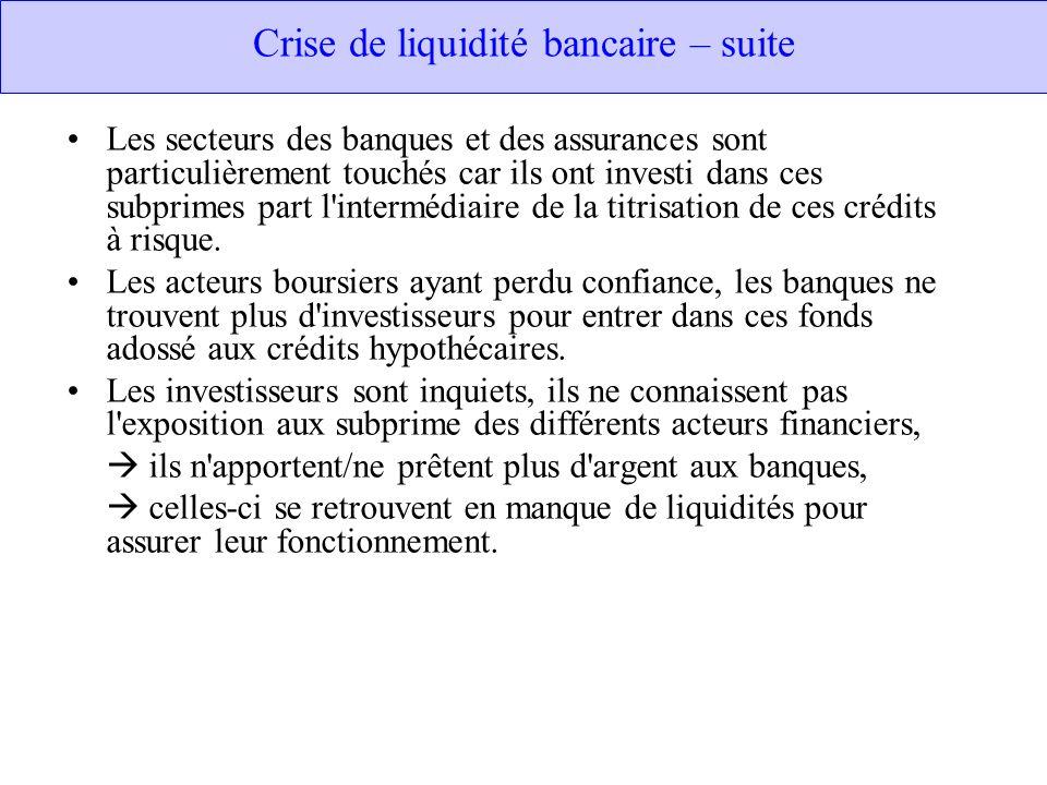 Crise de liquidité bancaire – suite