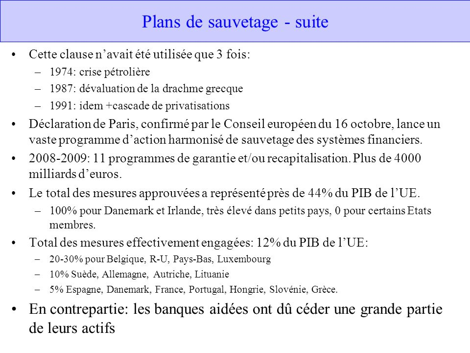 Plans de sauvetage - suite