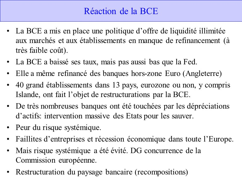 Réaction de la BCE