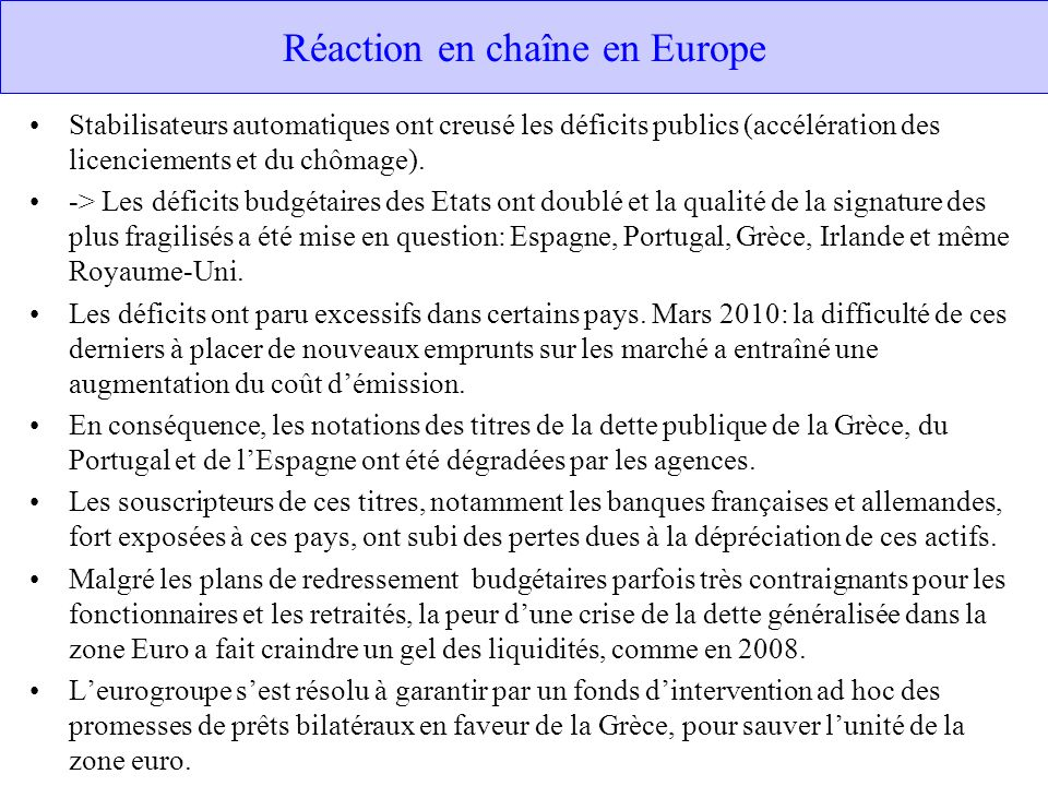 Réaction en chaîne en Europe