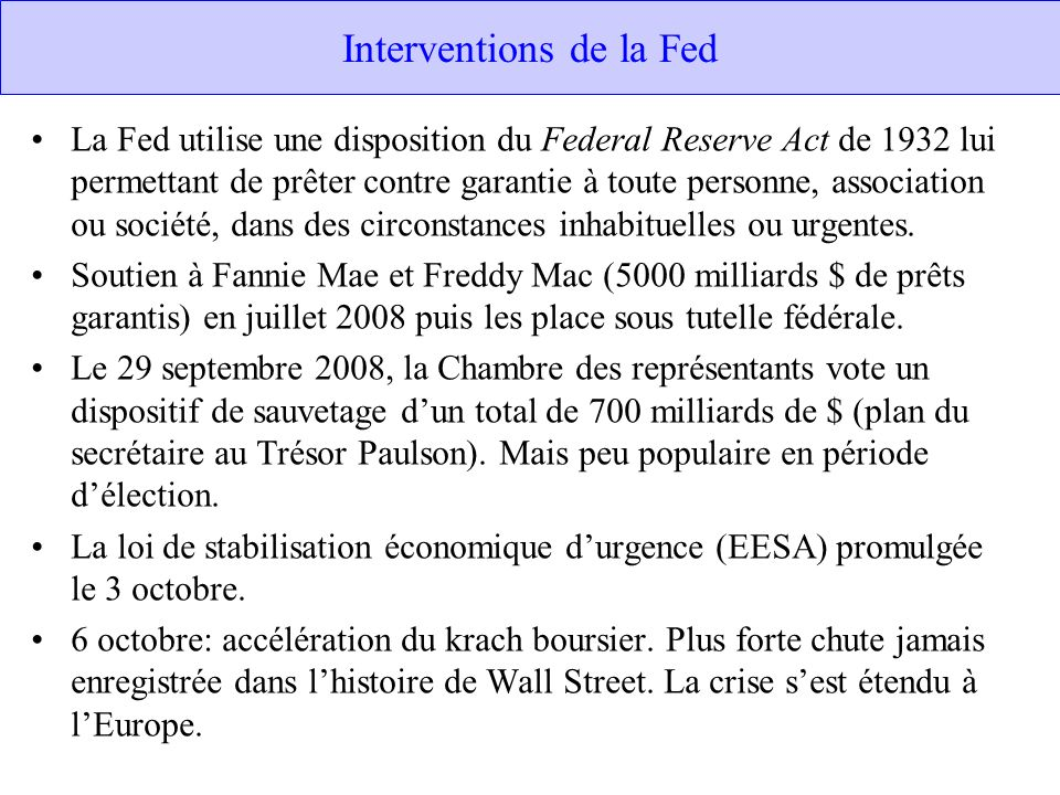 Interventions de la Fed