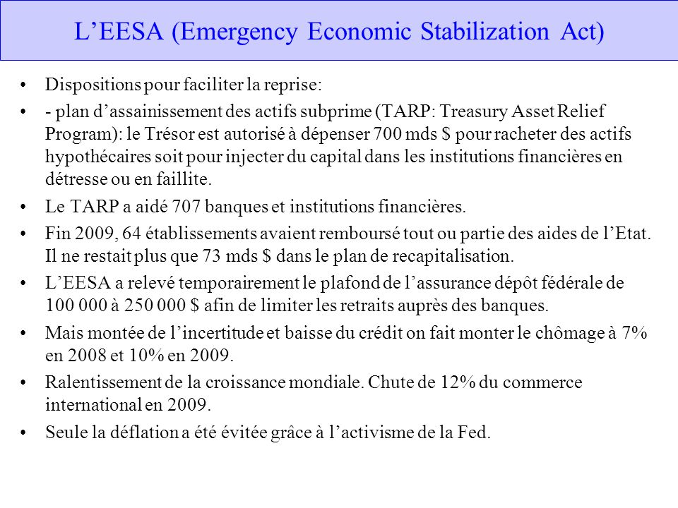L'EESA (Emergency Economic Stabilization Act)