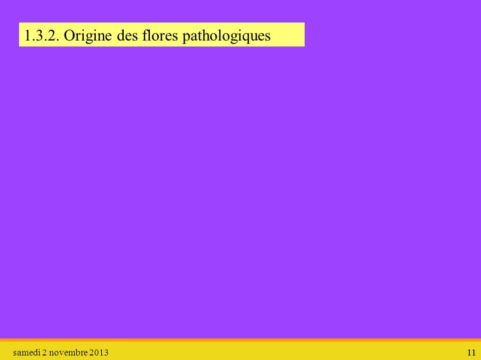1.3.2. Origine des flores pathologiques