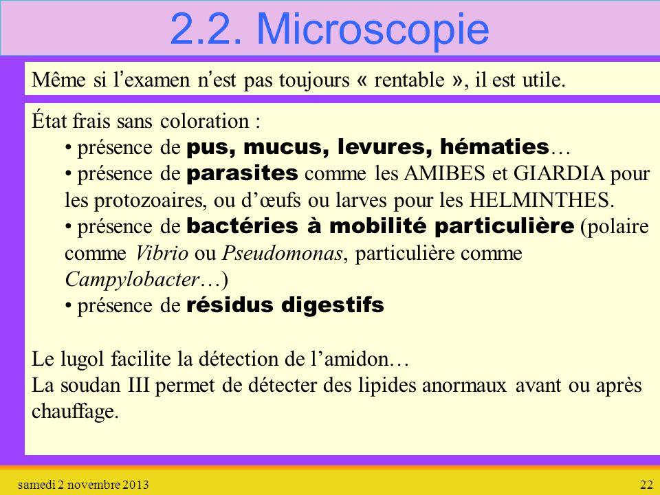 2.2. Microscopie Même si l'examen n'est pas toujours « rentable », il est utile. État frais sans coloration :