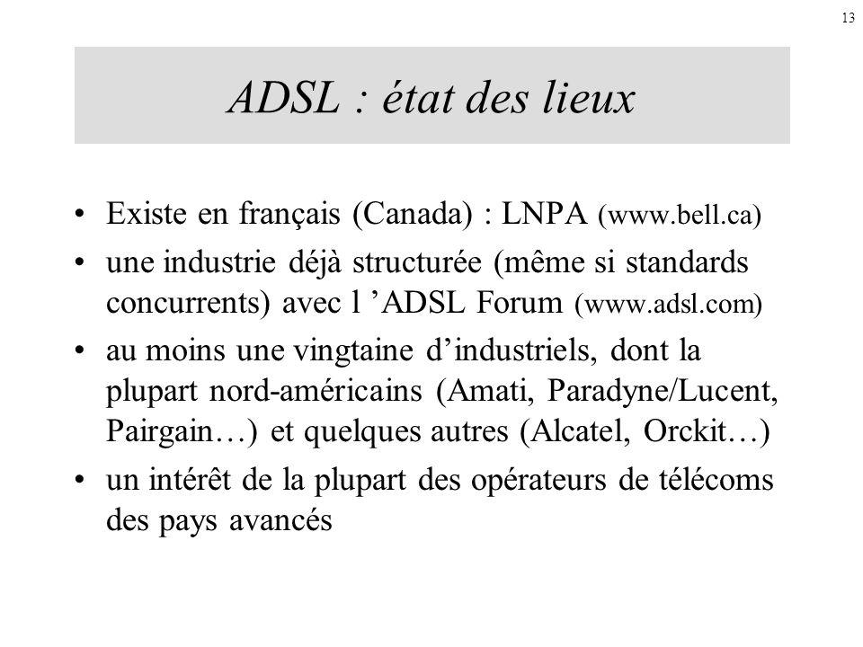 ADSL : état des lieux Existe en français (Canada) : LNPA (www.bell.ca)