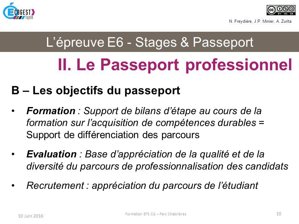 L'épreuve E6 - Stages & Passeport