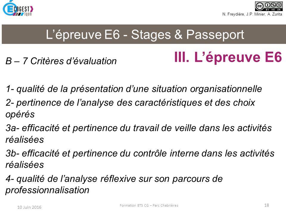III. L'épreuve E6 L'épreuve E6 - Stages & Passeport