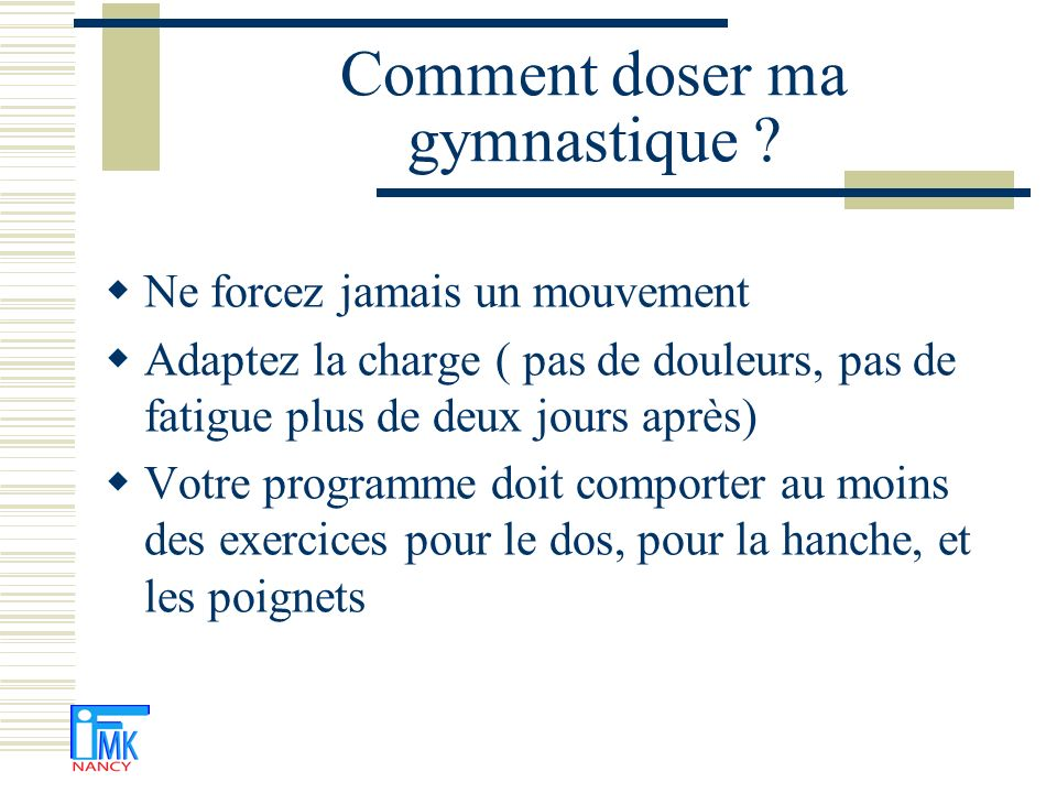 Comment doser ma gymnastique