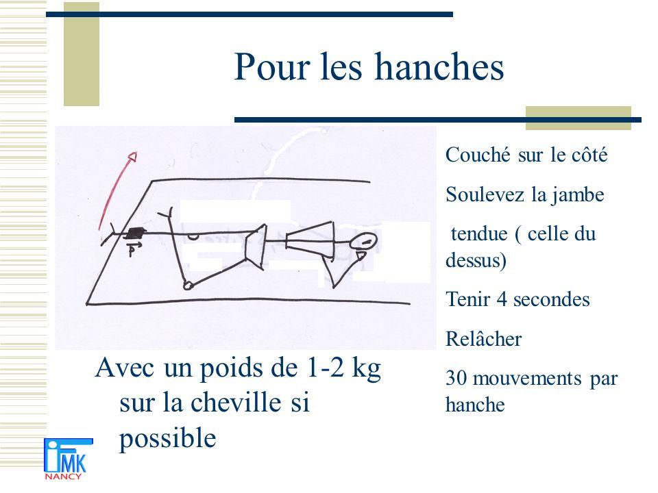 Pour les hanches Avec un poids de 1-2 kg sur la cheville si possible