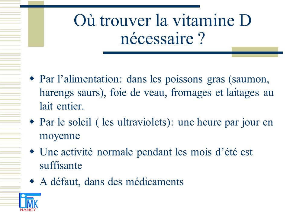 Où trouver la vitamine D nécessaire