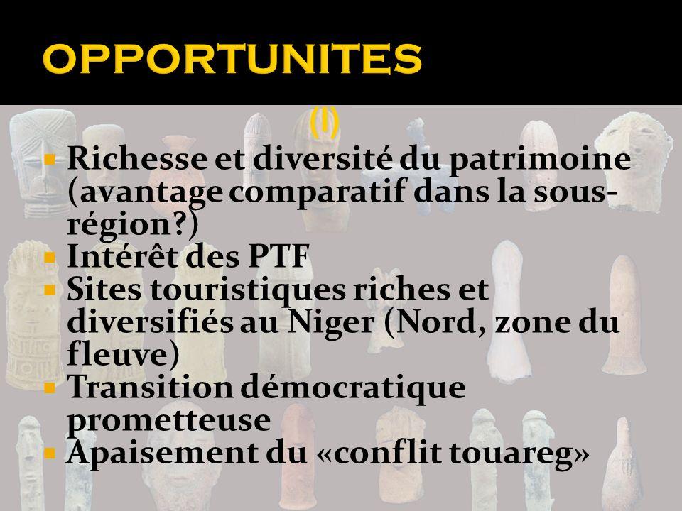 OPPORTUNITES (I) Richesse et diversité du patrimoine (avantage comparatif dans la sous-région ) Intérêt des PTF.