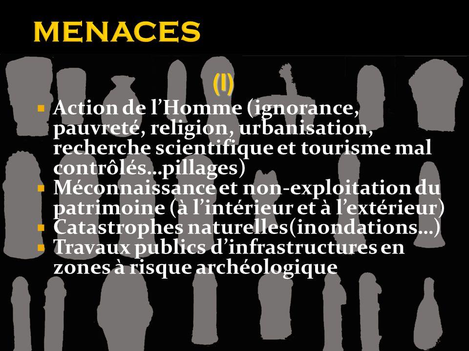 MENACES (I) Action de l'Homme (ignorance, pauvreté, religion, urbanisation, recherche scientifique et tourisme mal contrôlés…pillages)