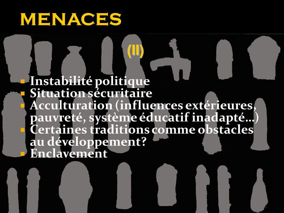 MENACES (II) Instabilité politique Situation sécuritaire