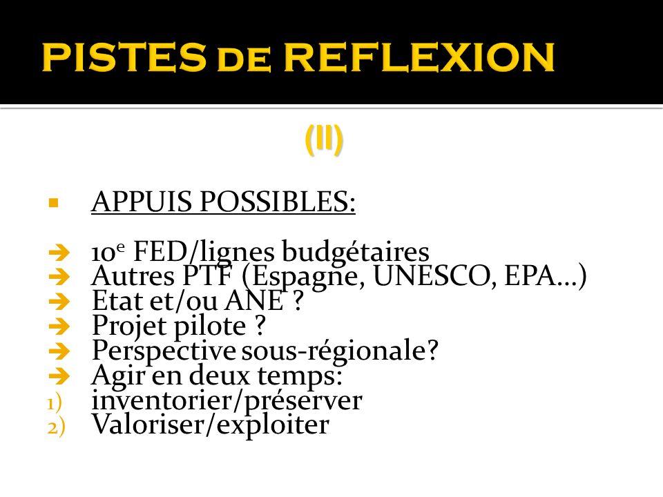 PISTES de REFLEXION (II) APPUIS POSSIBLES: 10e FED/lignes budgétaires