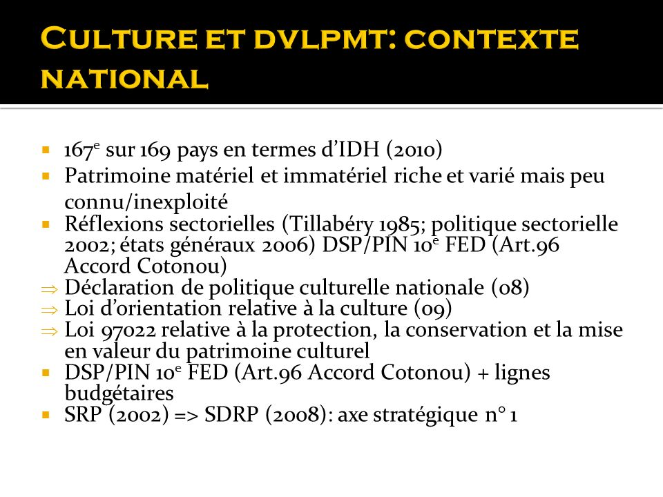 Culture et dvlpmt: contexte national