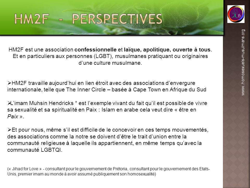 HM2F - perspectives HM2F est une association confessionnelle et laïque, apolitique, ouverte à tous.