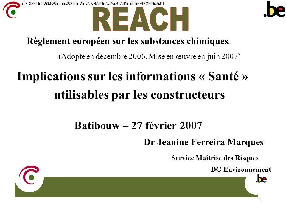 REACH utilisables par les constructeurs