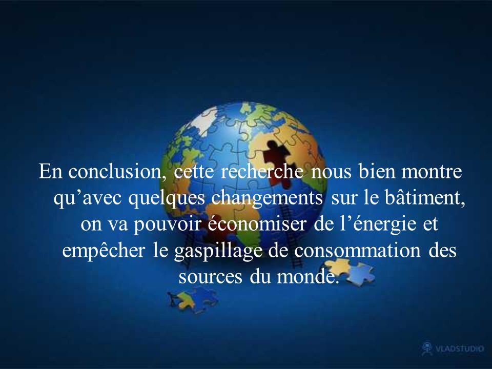 En conclusion, cette recherche nous bien montre qu'avec quelques changements sur le bâtiment, on va pouvoir économiser de l'énergie et empêcher le gaspillage de consommation des sources du monde.