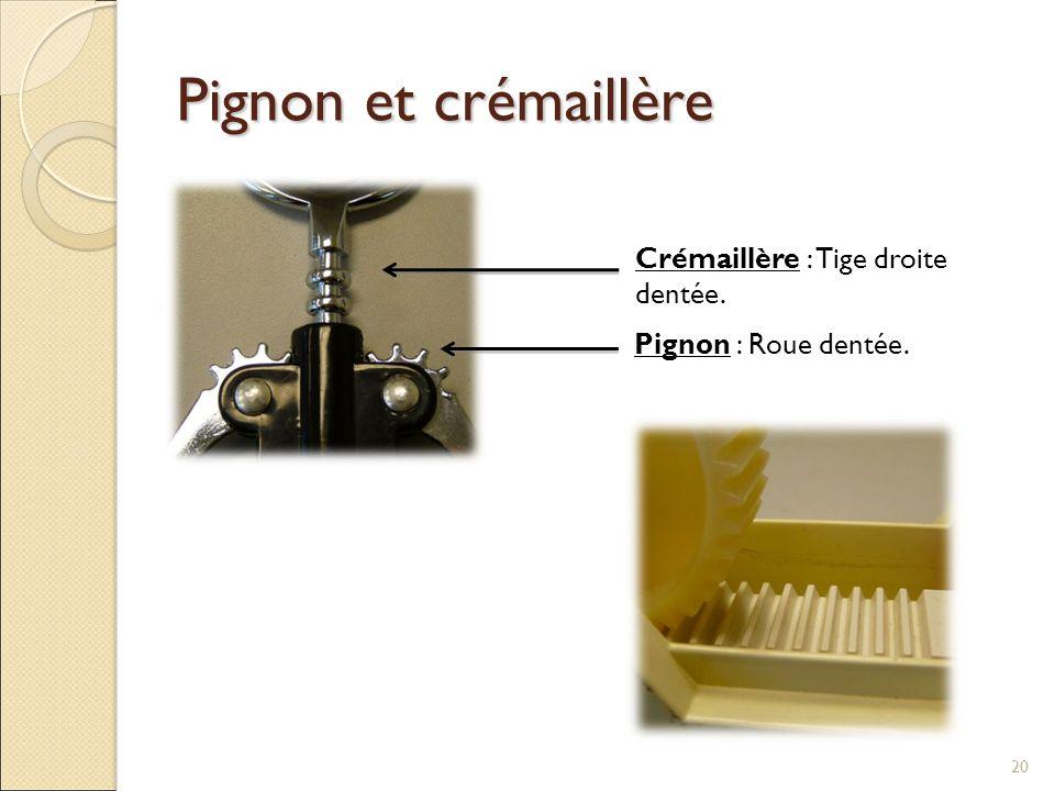 Pignon et crémaillère Crémaillère : Tige droite dentée.