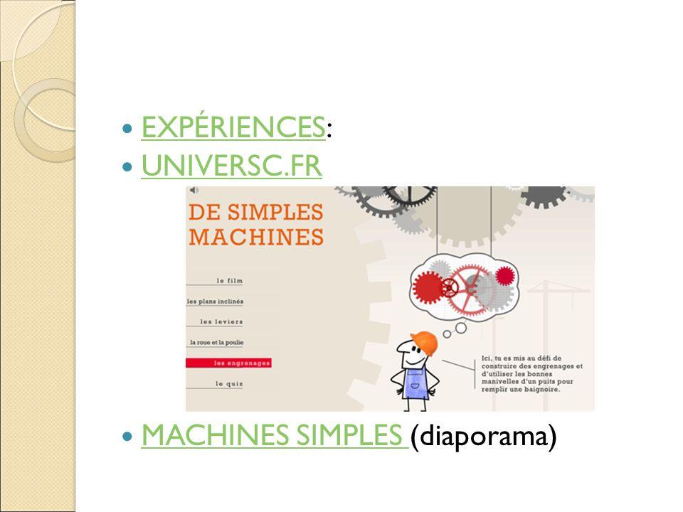 EXPÉRIENCES: UNIVERSC.FR MACHINES SIMPLES (diaporama)
