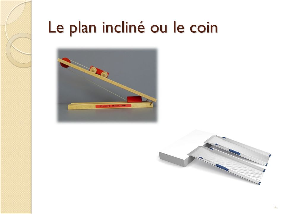 Le plan incliné ou le coin
