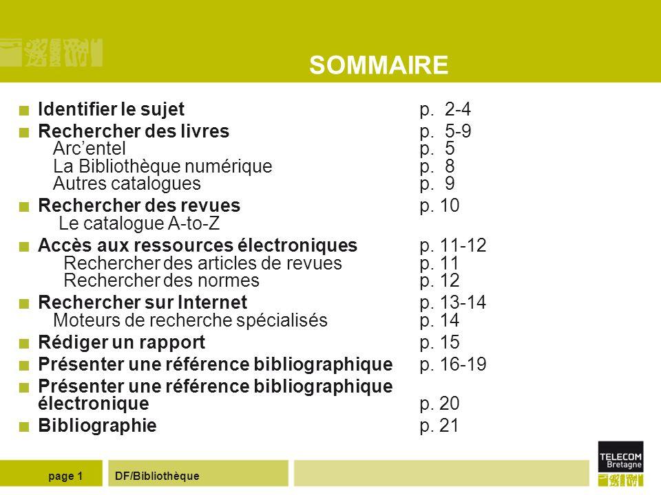 SOMMAIRE Identifier le sujet p. 2-4