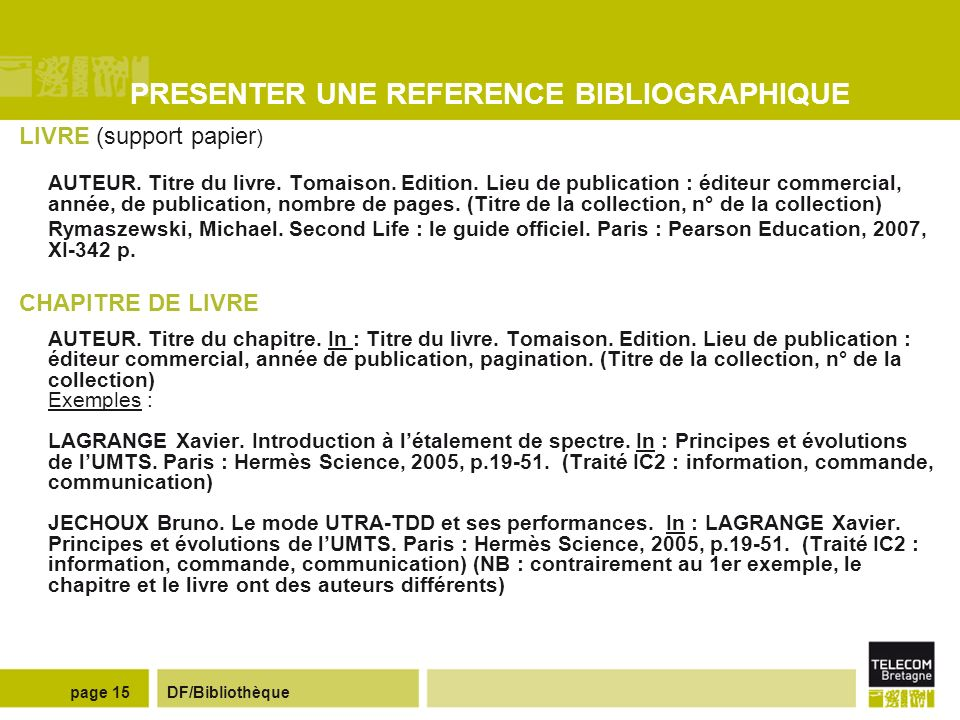 PRESENTER UNE REFERENCE BIBLIOGRAPHIQUE