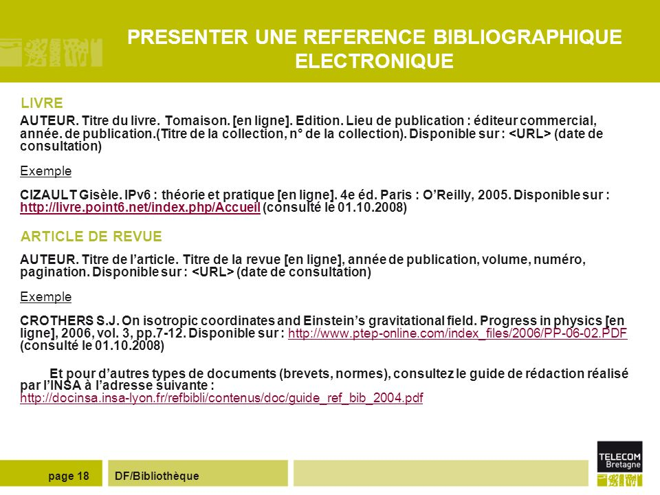 PRESENTER UNE REFERENCE BIBLIOGRAPHIQUE ELECTRONIQUE