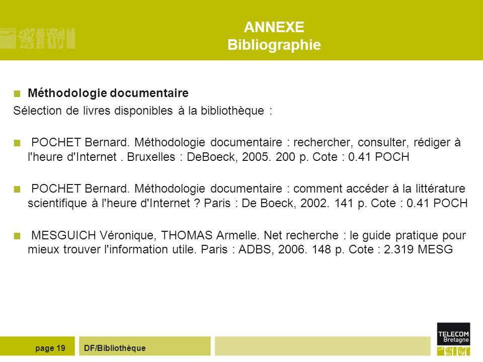 ANNEXE Bibliographie Méthodologie documentaire