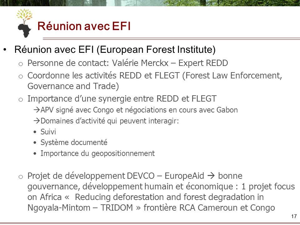 Réunion avec EFI Réunion avec EFI (European Forest Institute)