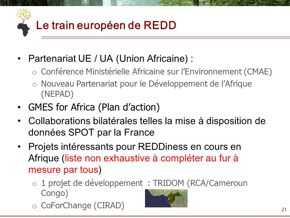 Le train européen de REDD