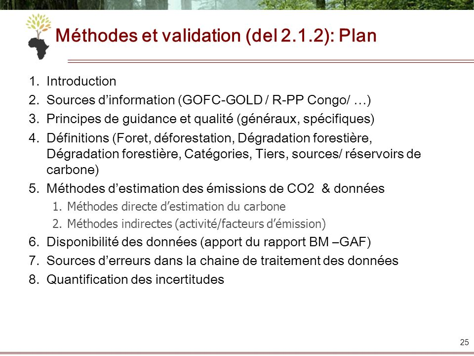 Méthodes et validation (del 2.1.2): Plan