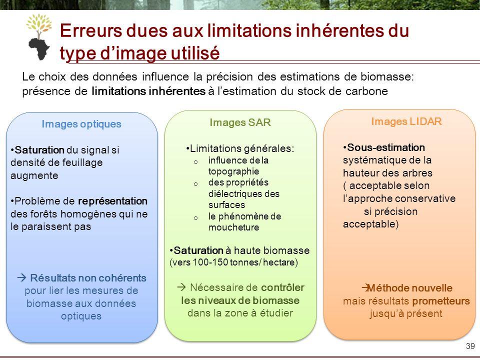 Erreurs dues aux limitations inhérentes du type d'image utilisé