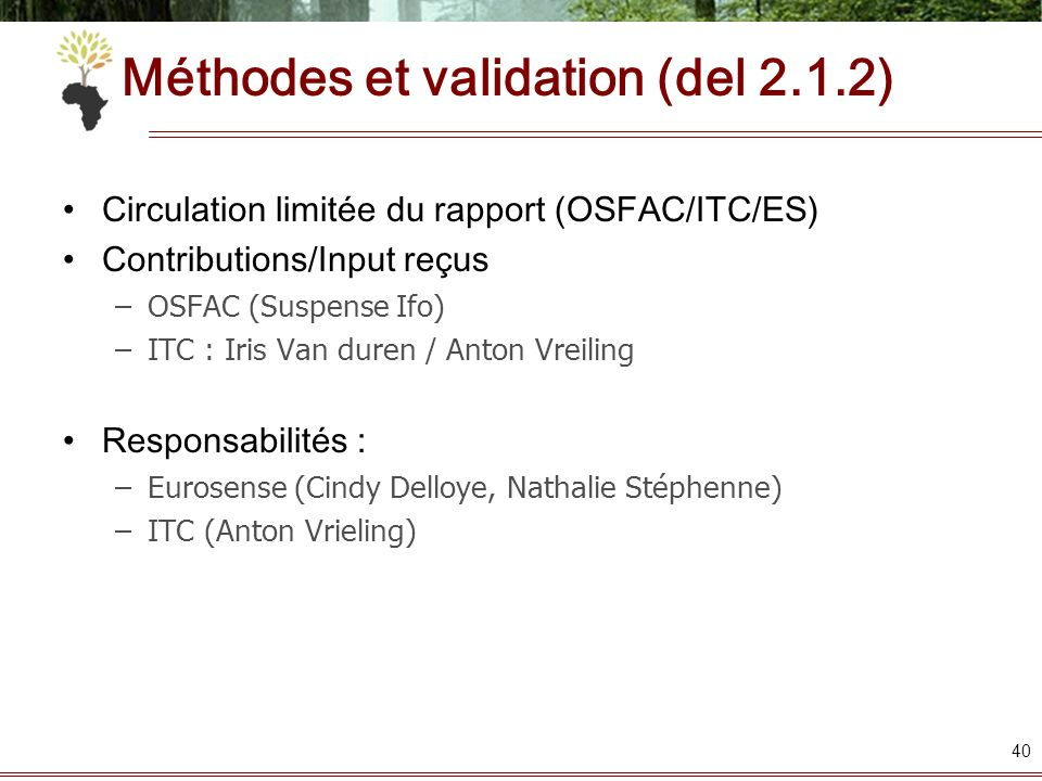 Méthodes et validation (del 2.1.2)