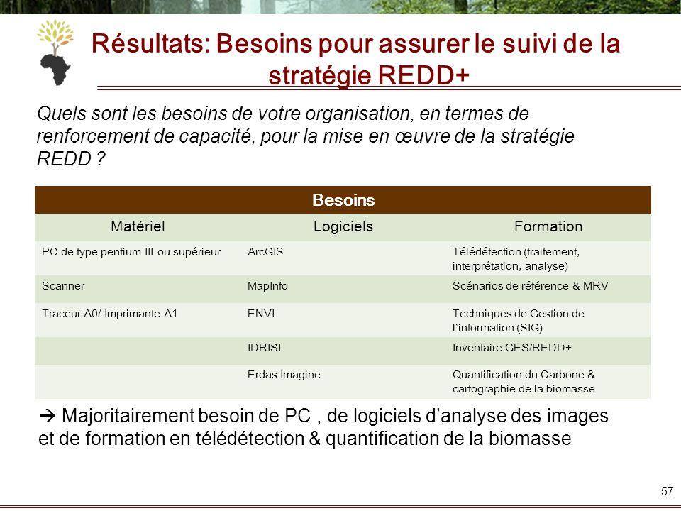 Résultats: Besoins pour assurer le suivi de la stratégie REDD+