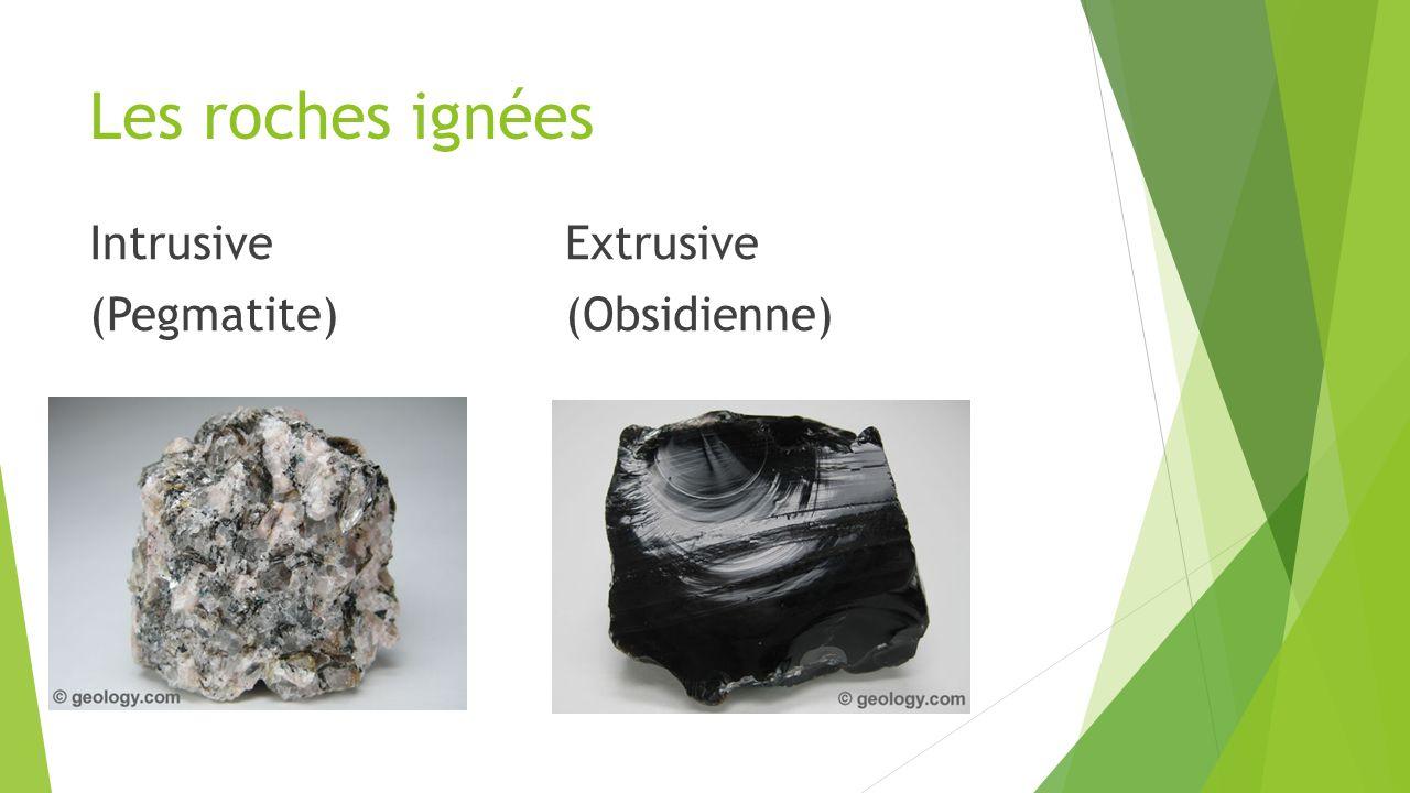 Les roches ignées Intrusive Extrusive (Pegmatite) (Obsidienne)