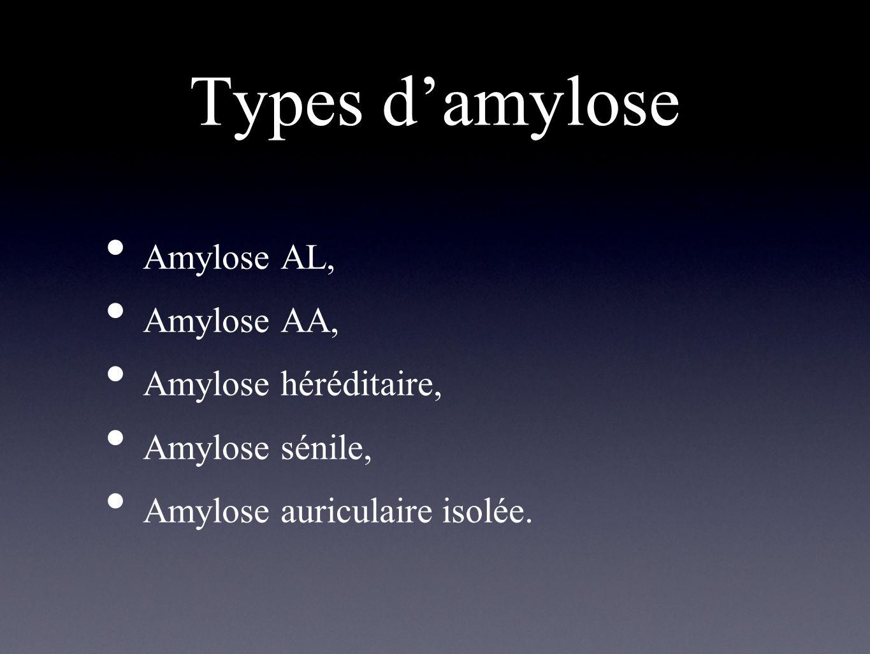 Types d'amylose Amylose AL, Amylose AA, Amylose héréditaire,