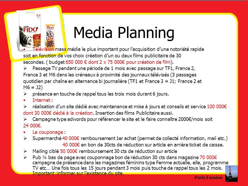 Media PlanningTélévision mass média le plus important pour l'acquisition d'une notoriété rapide.