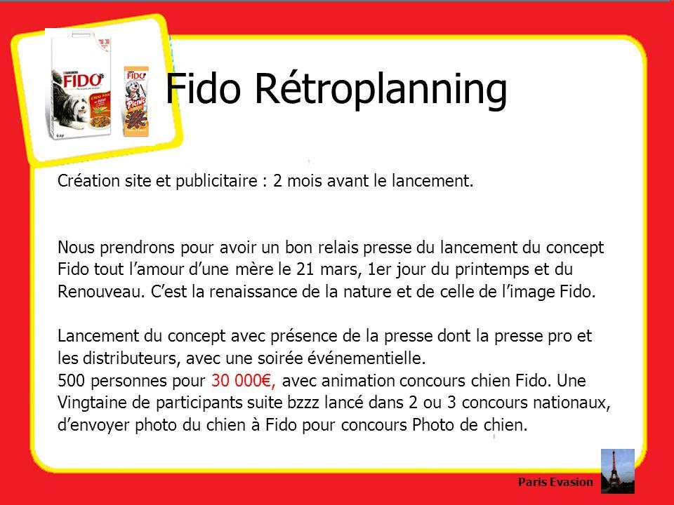 Fido RétroplanningCréation site et publicitaire : 2 mois avant le lancement. Nous prendrons pour avoir un bon relais presse du lancement du concept.