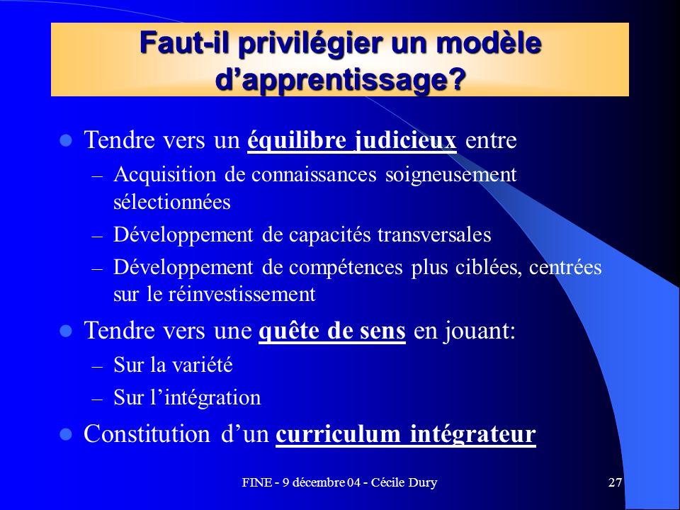 Faut-il privilégier un modèle d'apprentissage