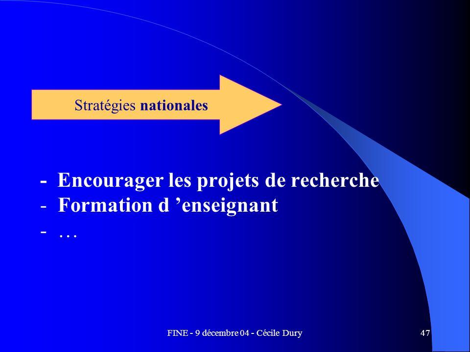 - Encourager les projets de recherche Formation d 'enseignant …