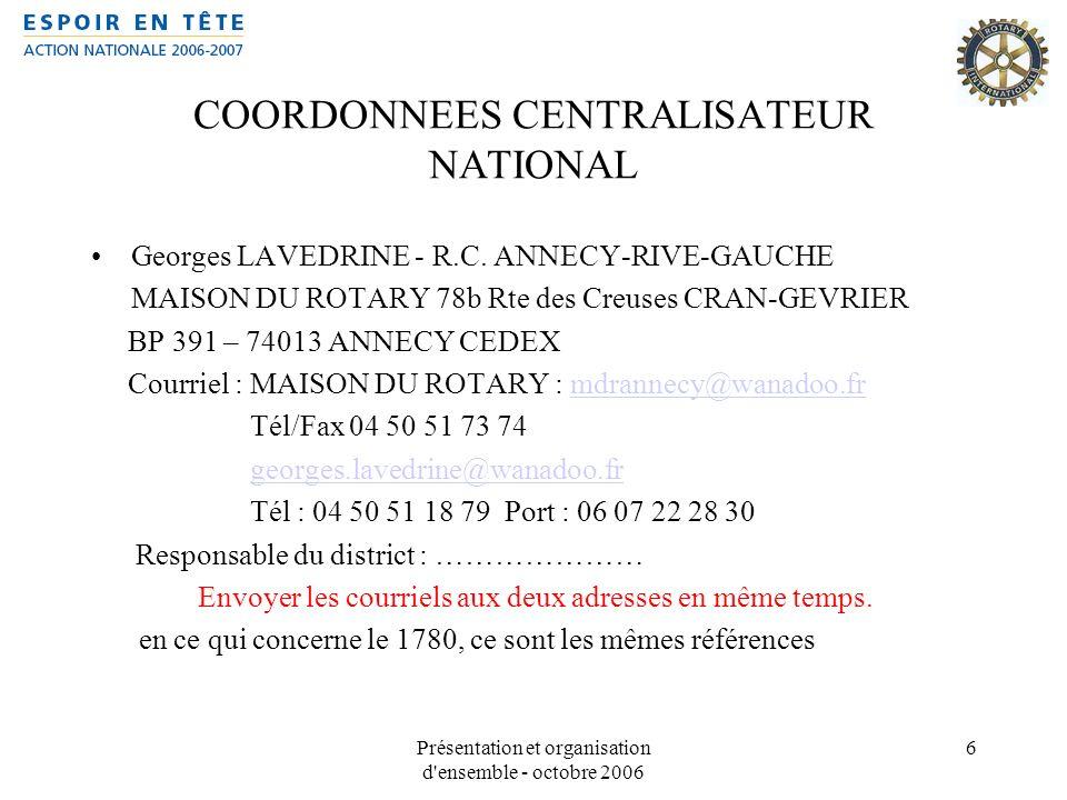 COORDONNEES CENTRALISATEUR NATIONAL