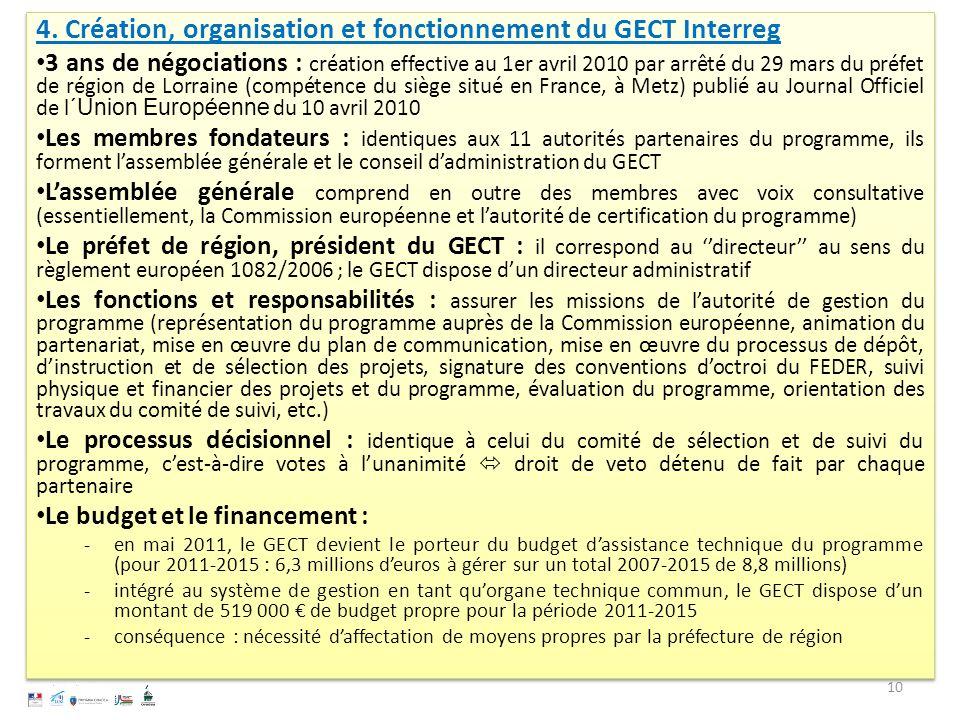 4. Création, organisation et fonctionnement du GECT Interreg