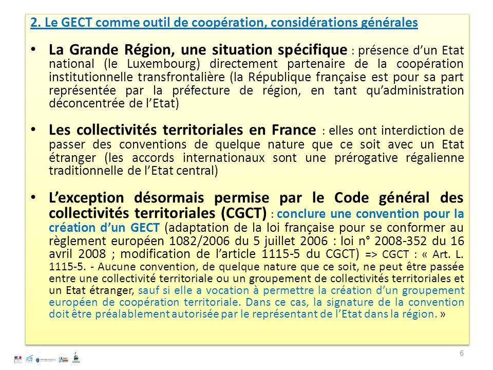 2. Le GECT comme outil de coopération, considérations générales